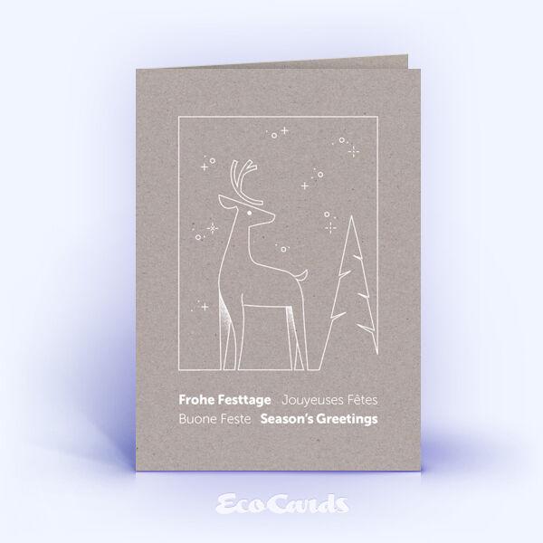 Weihnachtskarte Nr. 2193 grau mit Hirsch Silhouette