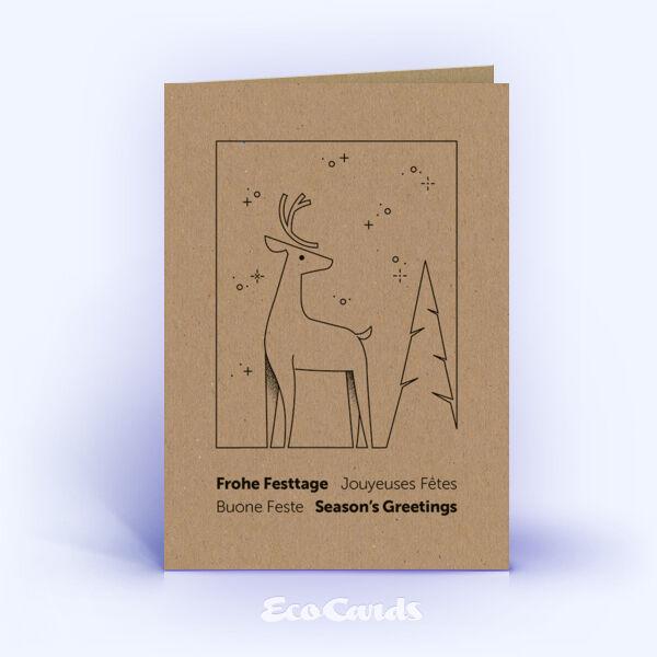 Weihnachtskarte Nr. 2197 braun mit Hirschmotiv