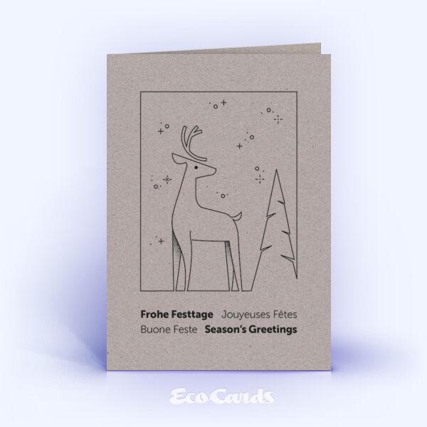Weihnachtskarte Nr. 2199 grau mit Hirschmotiv