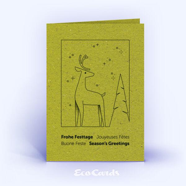 Weihnachtskarte Nr. 2201 gruen mit Hirsch Illustration