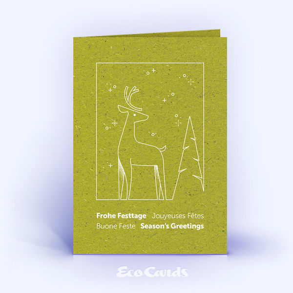 Weihnachtskarte Nr. 2203 gruen mit Hirsch Illustration
