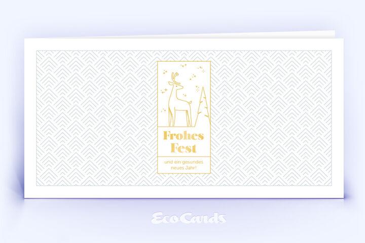 Weihnachtskarte Nr. 2204 gold mit Hirsch Silhouette