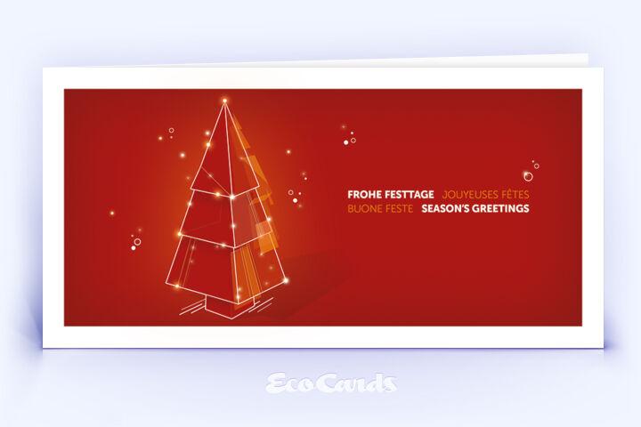 Weihnachtskarte Nr. 2206 rot mit Weihnachtsbaum
