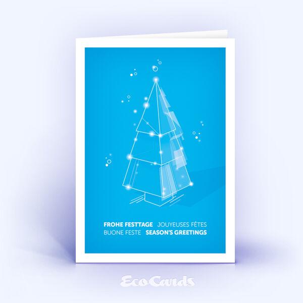 Weihnachtskarte Nr. 2207 hellblau mit einem Weihnachtsbaum