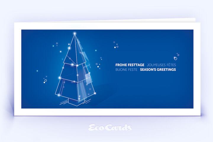 Weihnachtskarte Nr. 2208 blau mit einem Weihnachtsbaum