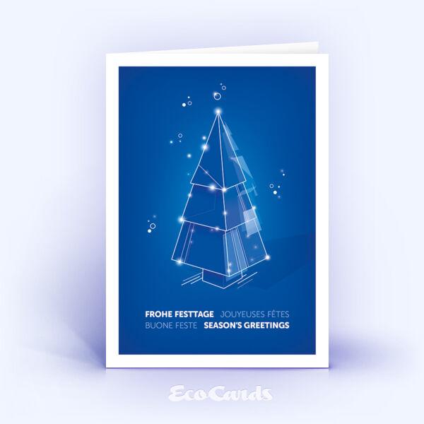 Weihnachtskarte Nr. 2209 blau mit einem Weihnachtsbaum