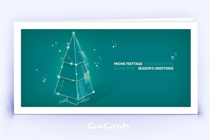 Weihnachtskarte Nr. 2210 tuerkis mit einem Weihnachtsbaum