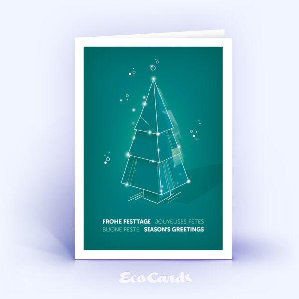 Weihnachtskarte Nr. 2211 tuerkis mit Weihnachtsbaum