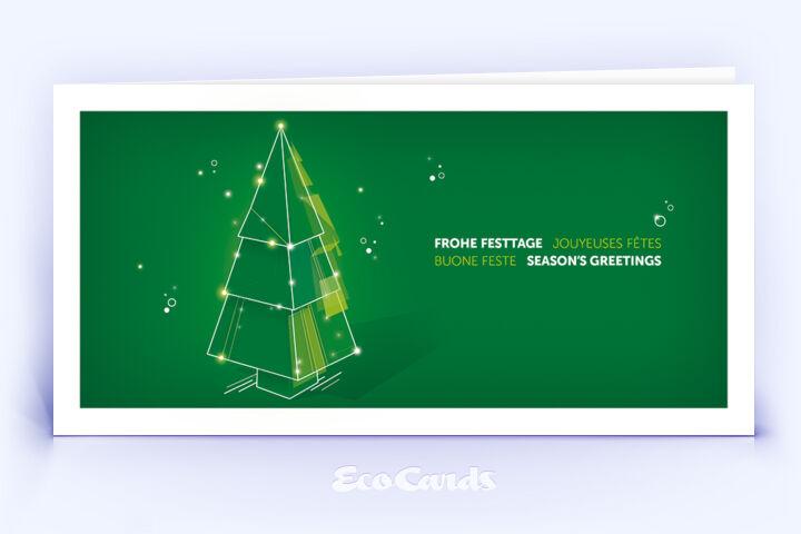 Weihnachtskarte Nr. 2212 gruen mit einem Weihnachtsbaum