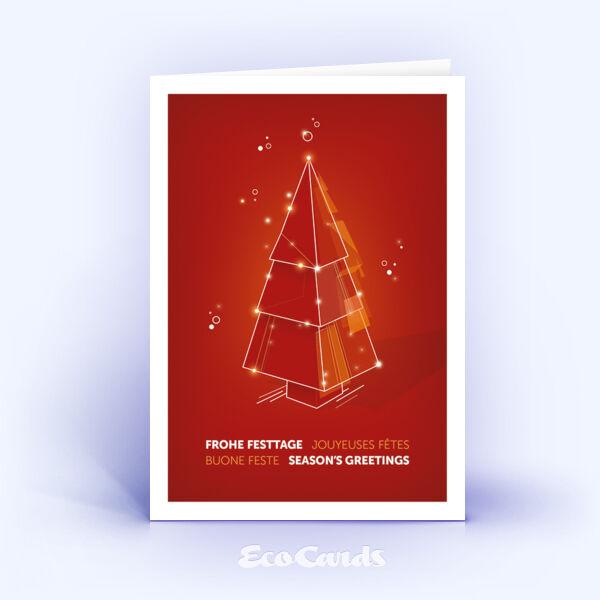 Weihnachtskarte Nr. 2213 rot mit einem Weihnachtsbaum