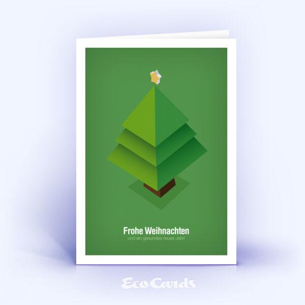 Öko Weihnachtskarten Nr. 281 gruen mit Christbaum sind mit einem grafischen Design bedruckt.