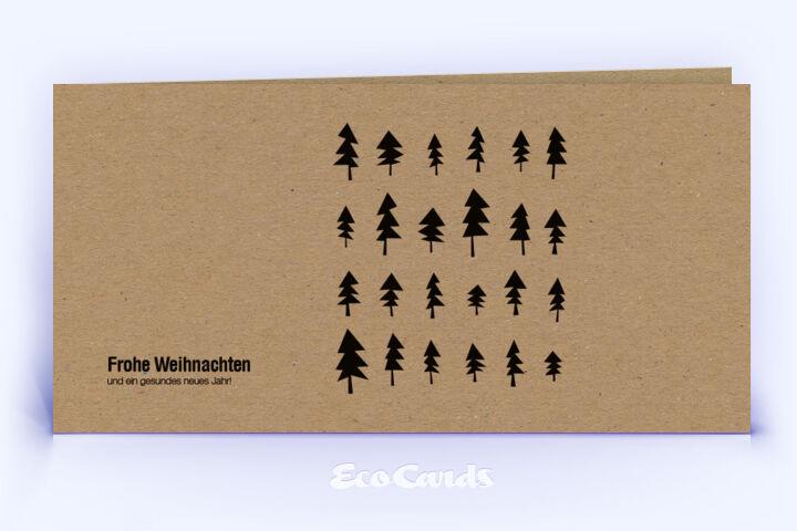 Öko Weihnachtskarte Nr. 296 braun mit Zeichnung zeigt ein modernes Layout.