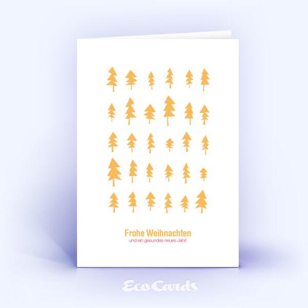 Öko Weihnachtskarten Nr. 299 orange mit einer handgemalten Zeichnung zeigen eine stylishe Gestaltung.