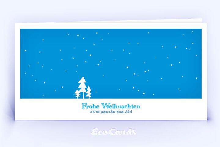 Öko Weihnachtskarte Nr. 302 blau mit einer Zeichnung zeigt ein schönes Layout.