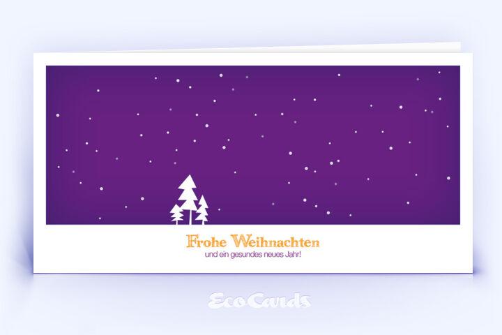 Öko Weihnachtskarte Nr. 304 violett mit einer Zeichnung ist mit einem besonderen Layout bedruckt.