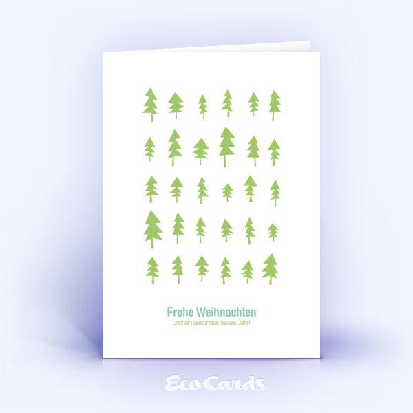 Öko Weihnachtskarten Nr. 305 hellgruen mit einer handgefertigten Zeichnung zeigen ein grafisches Dekor.