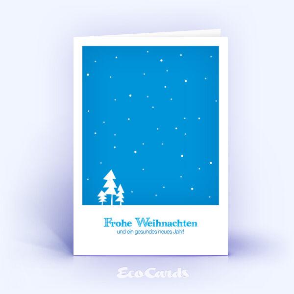 Öko Weihnachtskarten Nr. 307 blau mit handgemalter Zeichnung zeigen ein winterliches Kartenmotiv.