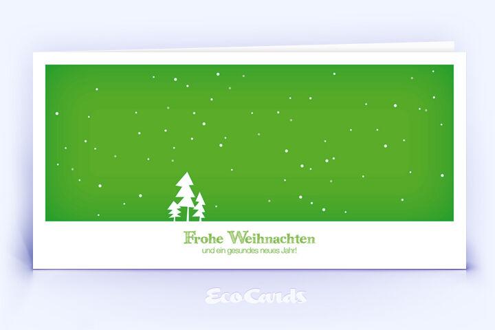 Öko Weihnachtskarte Nr. 308 gruen mit einer handgefertigten Zeichnung zeigt ein modernes Layout.