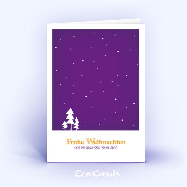 Öko Weihnachtskarten Nr. 309 violett mit handgemalter Zeichnung sind mit einem modernen Kartenmotiv bedruckt.