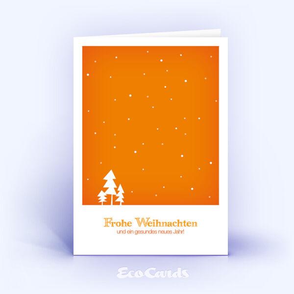 Öko Weihnachtskarten Nr. 311 orange mit einer Zeichnung sind mit einem modernen Layout bedruckt.