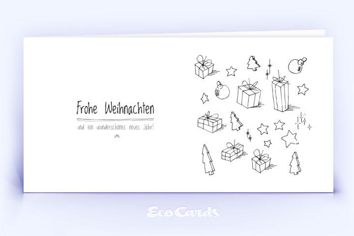 Öko Weihnachtskarte Nr. 324 weiss mit handgefertigter Zeichnung ist mit einem verspielten Design bedruckt.