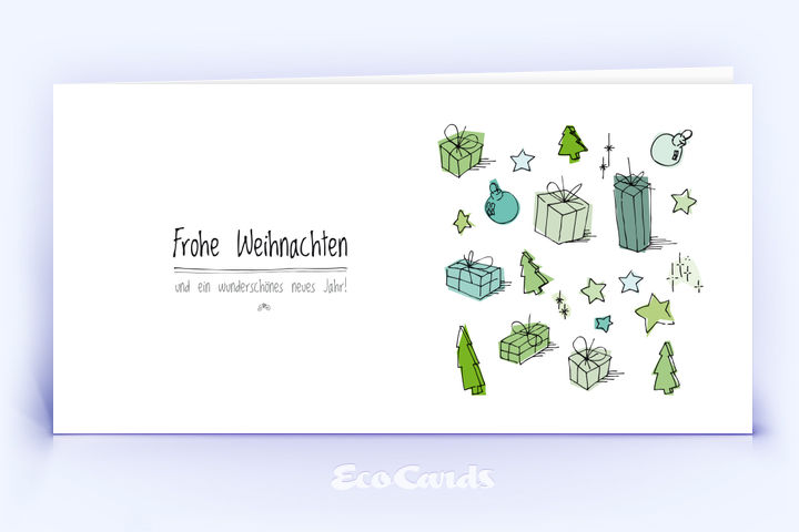 Öko Weihnachtskarte Nr. 326 weiss mit einer Zeichnung ist mit einem verspielten Design bedruckt.