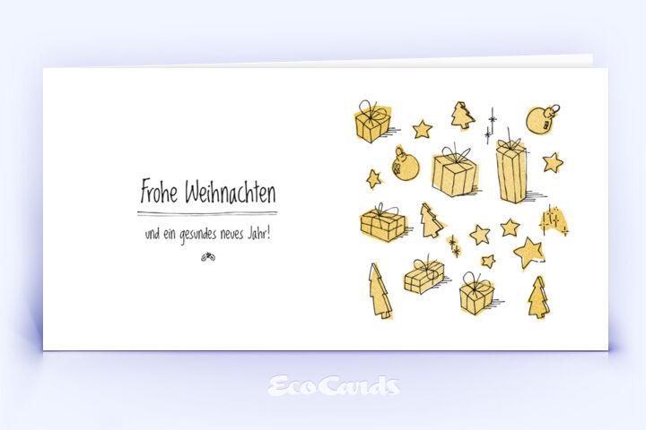 Öko Weihnachtskarte Nr. 328 gold mit einer Zeichnung ist mit einem schönen Kartenmotiv bedruckt.