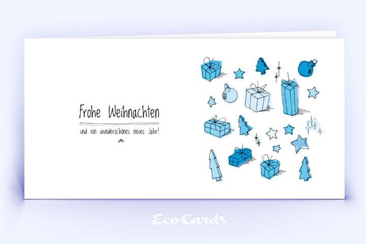 Öko Weihnachtskarte Nr. 330 blau mit einer handgezeichneten Illustration ist mit einem märchenhaften Layout bedruckt.