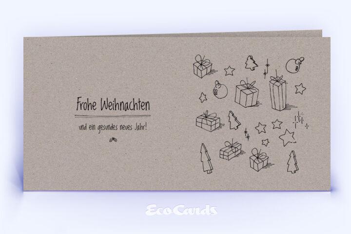 Öko Weihnachtskarte Nr. 332 grau mit einer handgefertigten Illustration zeigt ein kreatives Design.