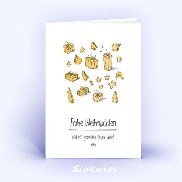 Öko Weihnachtskarten Nr. 333 gold mit einer handgefertigten Zeichnung sind mit einem kreativen Kartendesign bedruckt.