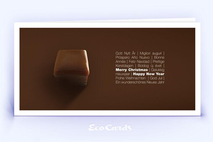 Öko Weihnachtskarte Nr. 336 braun mit Foto auf der Vorderseite ist mit einem edlen Motiv bedruckt.