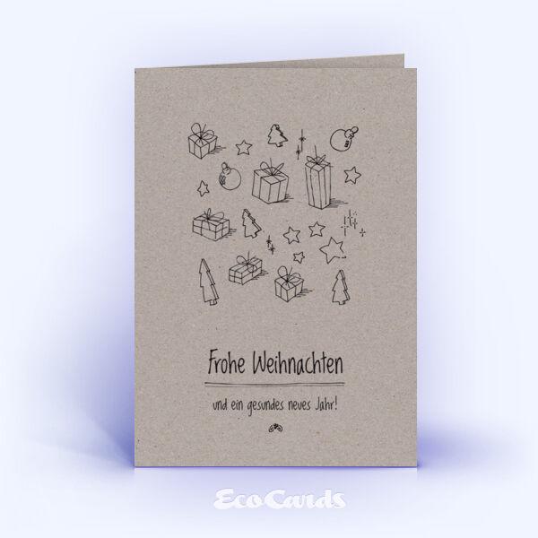Öko Weihnachtskarten Nr. 337 grau mit einer handgemalten Illustration sind mit einem märchenhaften Layout bedruckt.