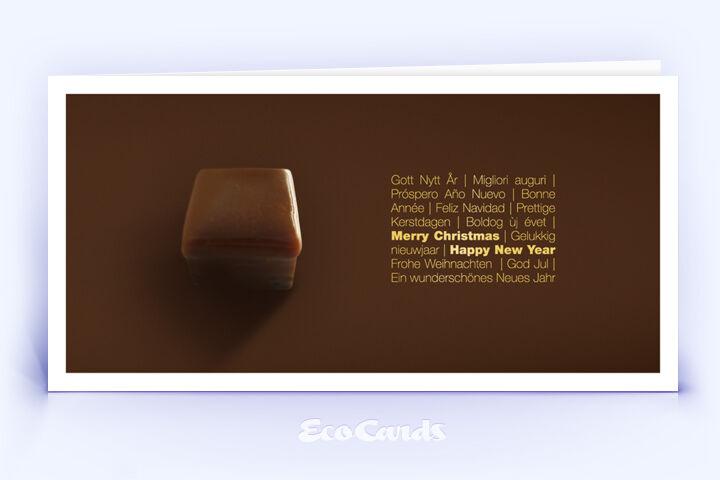 Öko Weihnachtskarte Nr. 338 gold mit leckerer Weihnachtsschokolade zeigt ein exklusives Motiv.
