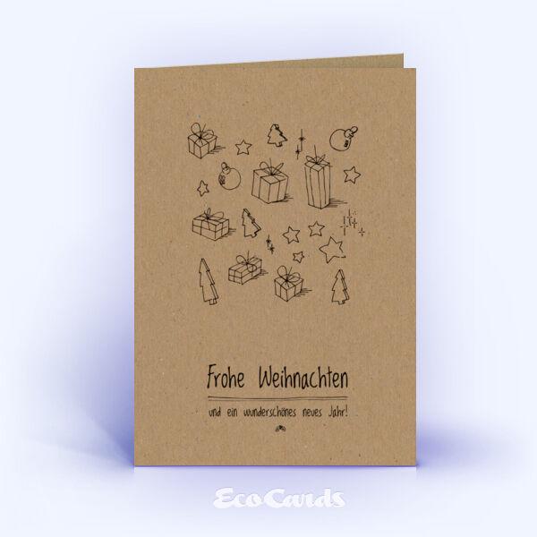 Weihnachtskarten 339 braun mit handgefertigter Zeichnung zeigen eine ...