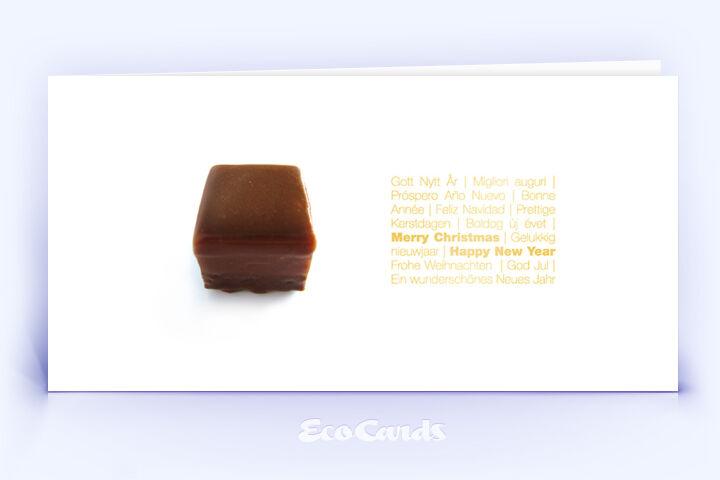 Öko Weihnachtskarte Nr. 342 gold mit Fotoimpression zeigt ein exklusives Motiv.