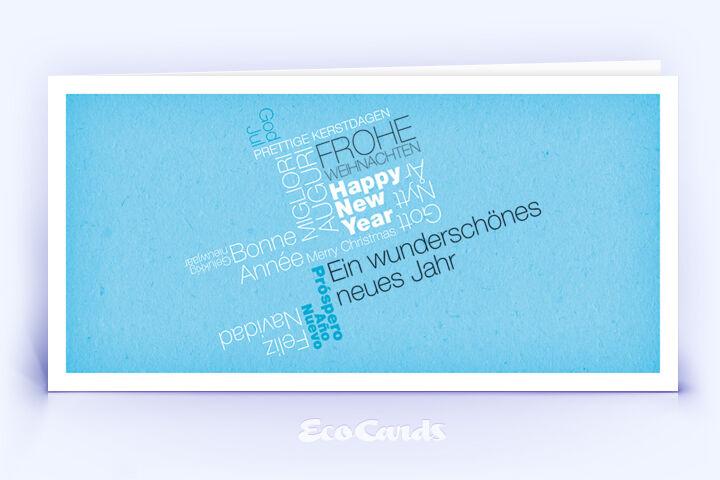 Weihnachtskarte Nr. 368 blau mit einem typografischem Design