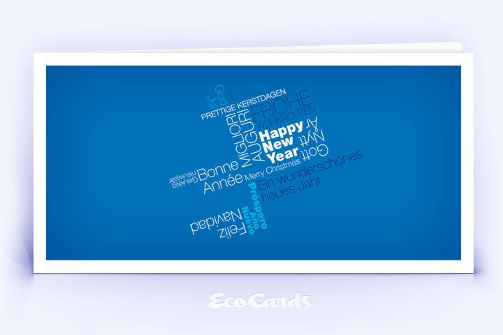 Weihnachtskarte Nr. 372 blau mit einer Wort-Wolke