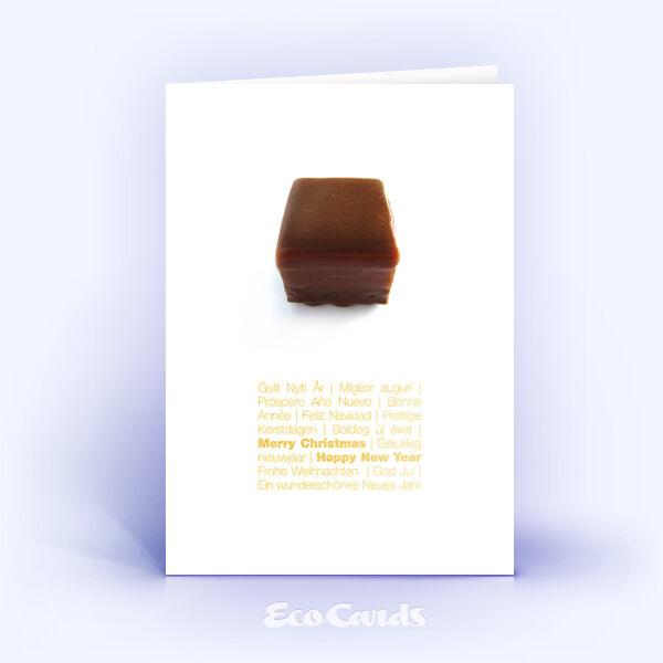 Öko Weihnachtskarten Nr. 375 gold mit leckerer Weihnachtsschokolade sind mit einem ausgefallenen Kartendesign bedruckt.