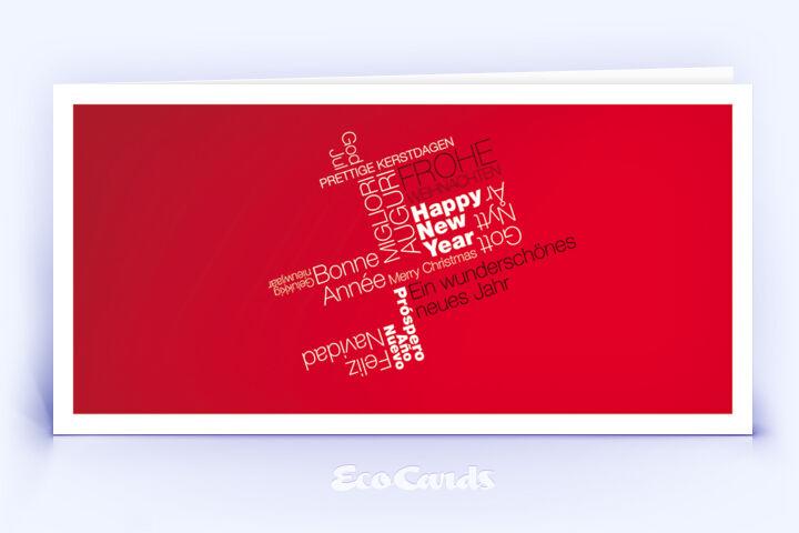 Weihnachtskarte Nr. 376 rot mit Word-Cloud