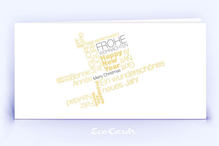 Öko Weihnachtskarte Nr. 378 gold mit typografischem Weihnachtsgruß ist mit einem kreativen Layout bedruckt.