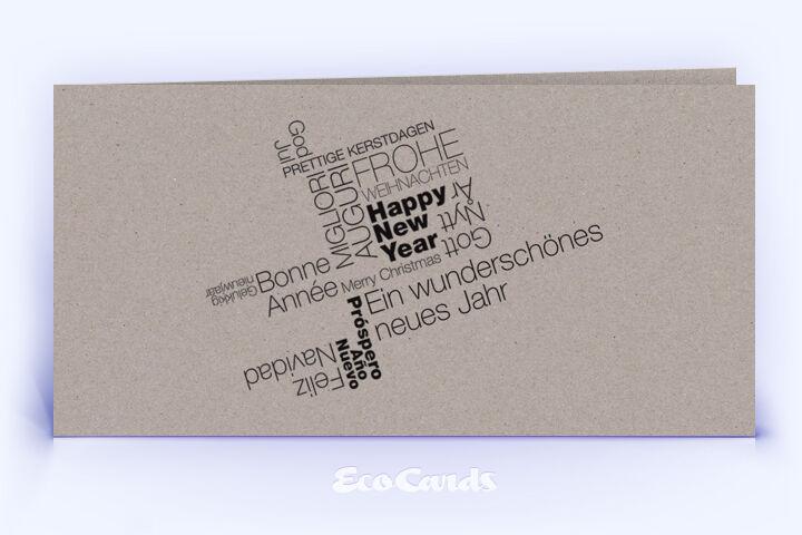 Öko Weihnachtskarte Nr. 380 grau mit typografischem Layout zeigt eine moderne Gestaltung.