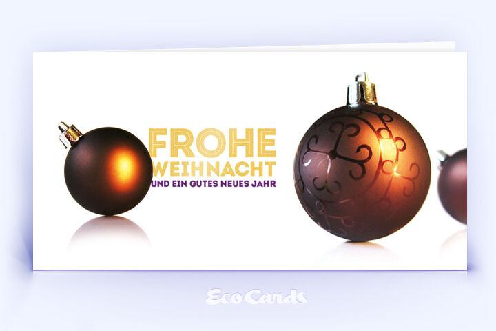 Öko Weihnachtskarte Nr. 384 gold mit mehreren Christbaumkugeln zeigt ein besonderes Design.