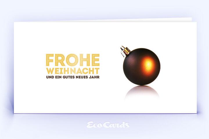 Öko Weihnachtskarte Nr. 386 gold mit Weihnachtskugel ist mit einem schönen Layout bedruckt.