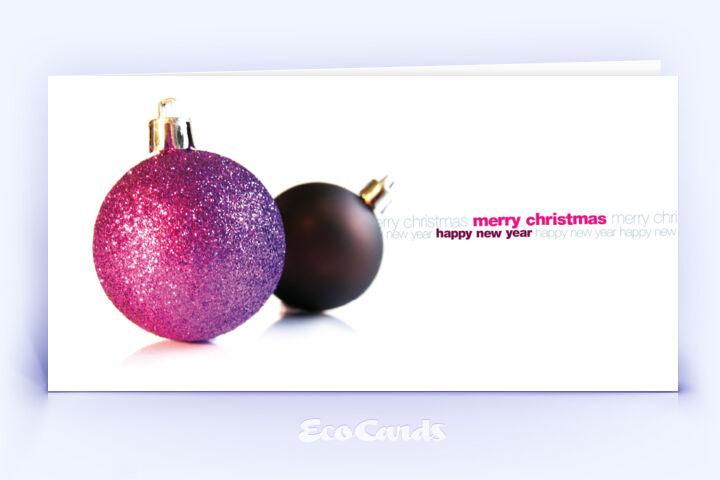 Öko Weihnachtskarte Nr. 396 pink mit Weihnachtskugeln zeigt ein modernes Dekor.