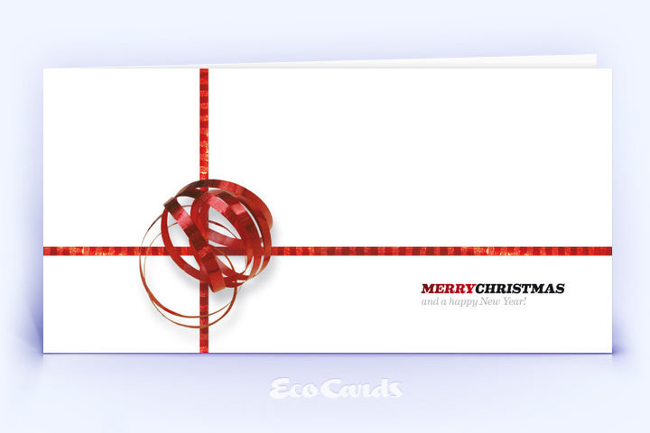 Öko Weihnachtskarte Nr. 40 rot mit weihnachtlicher Impression auf der Titelseite ist mit einem festlichen Dekor bedruckt.