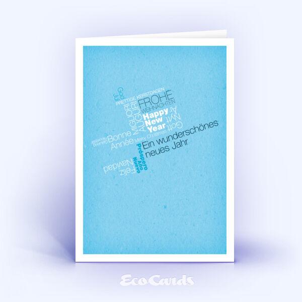 Öko Weihnachtskarten Nr. 403 blau mit einem typografisch gestalteten Weihnachtswunsch sind mit einem modernen Design bedruckt.
