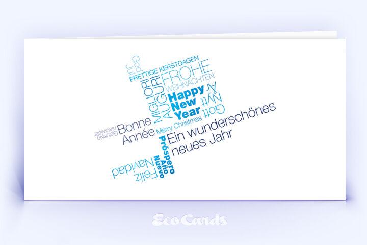 Weihnachtskarte Nr. 408 blau mit Word Cloud