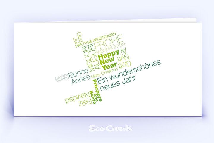 Weihnachtskarte Nr. 412 gruen mit einer Wortwolke
