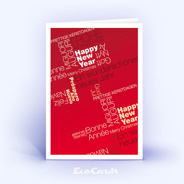 Weihnachtskarten 413 rot mit Hauptaugenmerk auf den Weihnachtstext ...