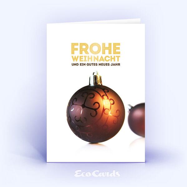 Öko Weihnachtskarten Nr. 421 gold mit Weihnachtskugel zeigen ein stilvolles Artwork.